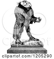 Clipart Of A Vintage Black And White Statue Man Royalty Free Vector Illustration