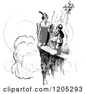 Clipart Of A Vintage Black And White Woman Blocking A Cliff Path Royalty Free Vector Illustration