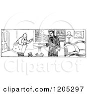 Clipart Of A Vintage Black And White Sherlock Holmes Scene Royalty Free Vector Illustration