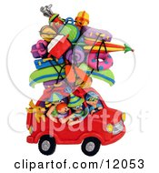 Clay Sculpture Clipart Family And Dog Crammed Into Their Car For A Road Trip Royalty Free 3d Illustration by Amy Vangsgard #COLLC12053-0022