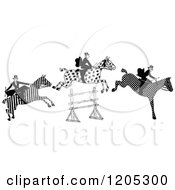 Vintage Black And White Leaping Patterned Horses