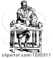 Cartoon Of A Vintage Black And White Potter Making A Jar Royalty Free Vector Clipart