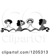 Clipart Of A Vintage Black And White Border Of Ladies Royalty Free Vector Illustration