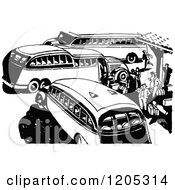 Clipart Of A Vintage Black And White Bus Station Royalty Free Vector Illustration