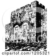 Cartoon Of A Vintage Black And White Jerusalem Golden Gate Royalty Free Vector Clipart
