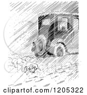 Cartoon Of A Vintage Black And White Car Passing A Homeless Dog In Rain Or Snow Royalty Free Vector Clipart