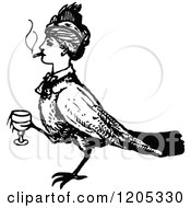Clipart Of A Vintage Black And White Bird Woman With A Cigarette And Wine Royalty Free Vector Illustration