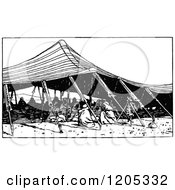 Cartoon Of A Vintage Black And White Arab Tent Royalty Free Vector Clipart