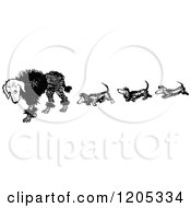 Cartoon Of A Vintage Black And White Dog Trail Royalty Free Vector Clipart