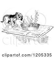 Cartoon Of A Vintage Black And White Dog And Hot Meal Royalty Free Vector Clipart