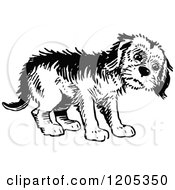 Cartoon Of A Vintage Black And White Forlorn Dog Royalty Free Vector Clipart