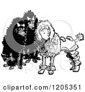 Cartoon Of A Vintage Black And White Trio Of Poodles Royalty Free Vector Clipart
