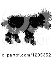 Cartoon Of A Vintage Black And White Shaggy Dog Royalty Free Vector Clipart