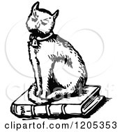 Clipart Of A Vintage Black And White Cat Sitting On A Book Royalty Free Vector Illustration