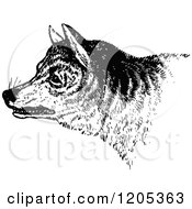Clipart Of A Vintage Black And White Wild Dog Royalty Free Vector Illustration