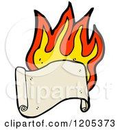 Cartoon Of A Flaming Scroll Royalty Free Vector Illustration