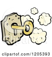Cartoon Of A Lock And Key Royalty Free Vector Illustration by lineartestpilot
