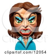 Clay Sculpture Clipart Angry Brunette Woman Royalty Free 3d Illustration