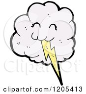 Cartoon Of A Cloud And Lightning Bolt Royalty Free Vector Illustration by lineartestpilot
