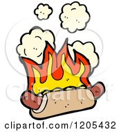 Cartoon Of A Flaming Hot Dog Royalty Free Vector Illustration
