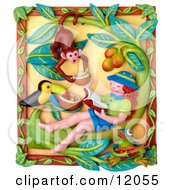 3d Girl Reading A Book And Imagining Shes In A Jungle With A Toucan And Monkey