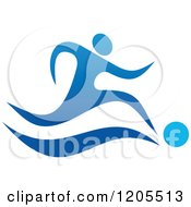 Clipart Of A Blue Man Plaing Soccer Royalty Free Vector Illustration by Vector Tradition SM