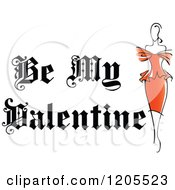 Clipart Of Be My Valentine Text With A Woman In A Red Dress Royalty Free Vector Illustration