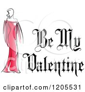 Clipart Of Be My Valentine Text With A Woman In A Red Dress 2 Royalty Free Vector Illustration
