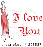 Clipart Of Red I Love You Text With A Woman In A Red Dress Royalty Free Vector Illustration