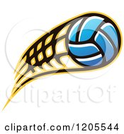 Clipart Of A Blue Volleyball With A Net Speed Trail Royalty Free Vector Illustration by Vector Tradition SM