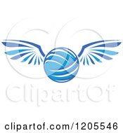 Clipart Of A Blue Volleyball With Wings Royalty Free Vector Illustration