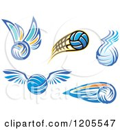 Clipart Of Volleyballs With Wings Royalty Free Vector Illustration