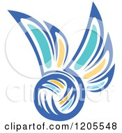 Clipart Of A Blue Yellow And Turquoise Volleyball With Wings Royalty Free Vector Illustration by Vector Tradition SM