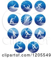 Clipart Of Round Blue Icons Of Men Engaged In Sports Royalty Free Vector Illustration by Vector Tradition SM