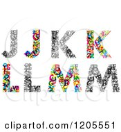 Clipart Of Colorful J K L And M Made Of Tiny Letters Royalty Free Vector Illustration