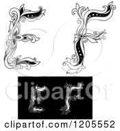 Clipart Of Vintage Black And White Floral Letters E And F 2 Royalty Free Vector Illustration