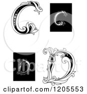Clipart Of A Vintage Floral Letter C And D 2 Royalty Free Vector Illustration