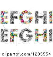 Clipart Of Colorful E F G H And I Made Of Tiny Letters Royalty Free Vector Illustration