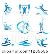 Clipart Of A Blue Athletic Man Engaged In Different Sports Royalty Free Vector Illustration by Seamartini Graphics