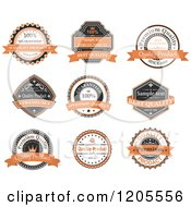 Clipart Of Orange Black And White Vintage Quality Guarantee Labels With Sample Text Royalty Free Vector Illustration