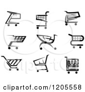 Clipart Of Black And White Shopping Cart Icons 2 Royalty Free Vector Illustration