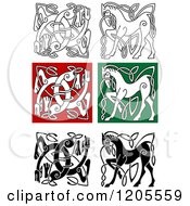 Clipart Of Celtic Horse And Dog Knot Designs Royalty Free Vector Illustration