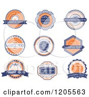 Clipart Of A Orange Blue And White Vintage Quality Guarantee Labels Royalty Free Vector Illustration
