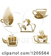 Clipart Of Cups And A Pot Of Brown Tea Or Coffee Royalty Free Vector Illustration