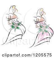 Clipart Of Brides With Flowers And Wedding Gowns Royalty Free Vector Illustration