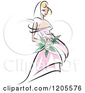 Clipart Of A Blond Bride In A Pink Dress 2 Royalty Free Vector Illustration