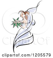 Clipart Of A Brunette Bride With Pink Flowers Royalty Free Vector Illustration