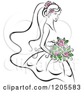 Clipart Of A Bride With Pink Flowers Royalty Free Vector Illustration by Vector Tradition SM