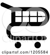Clipart Of A Black And White Shopping Cart Icon 12 Royalty Free Vector Illustration