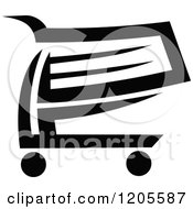 Clipart Of A Black And White Shopping Cart Icon 9 Royalty Free Vector Illustration